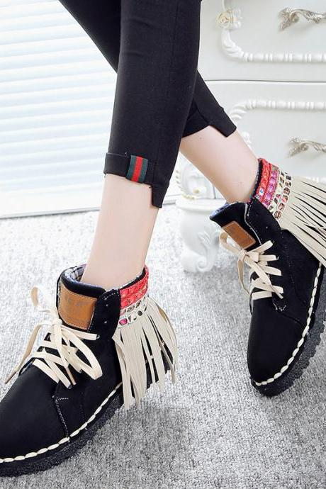 Suede Patchwork Tassel Lace-Up Round Toe Boots