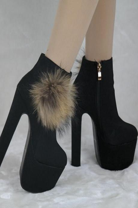 Suede Pure color Zipper Chunky Heel Round Toe High Heels