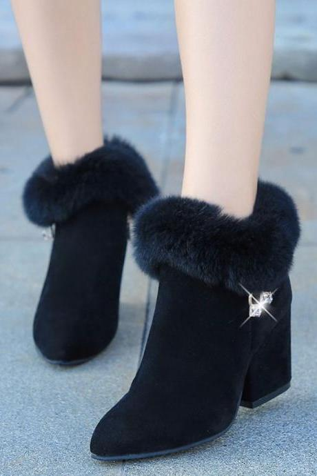 Pure Color PU Chunky Heel Pionted Toe Short Boots