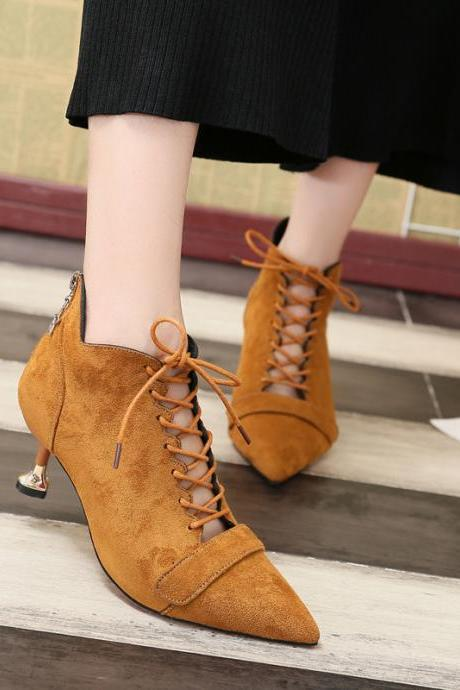 Suede Pointed-Toe Lace-Up Kitten Heel, Short Boots