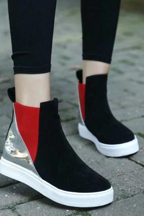 Patchwork PU Slope Heel Round ToeShort Boots
