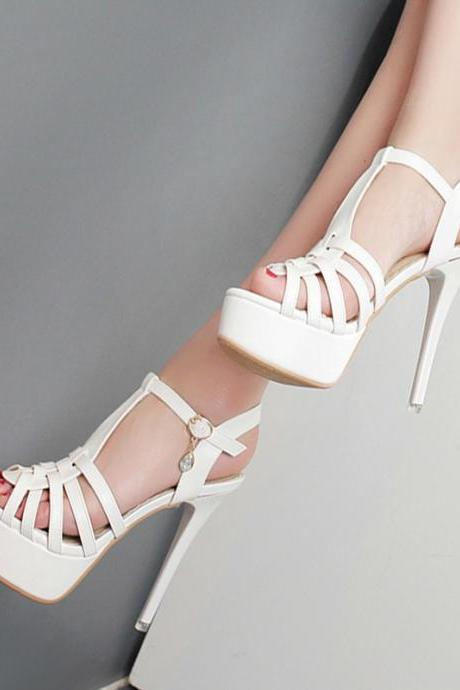 PU Pure color Stiletto Heel Peep Toe Sandals