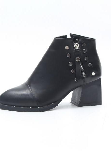 Black Rivet Detailing Low Chunky Heel Ankle Boots With Side Zipper