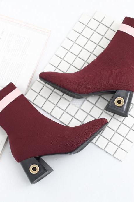 Suede Chunky Heel Striped Square Toe Short Boots