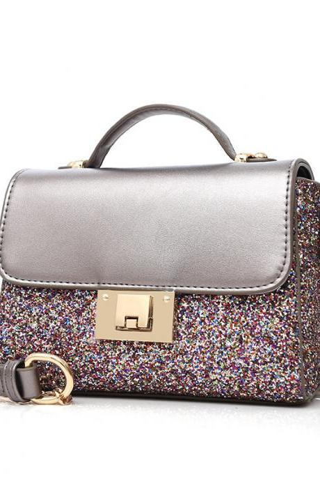 Shining Sequins Color Block Chain Crossbody Bag