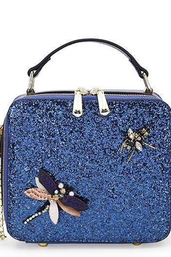 Sequins Embroidery Zipper Crossbody Bag
