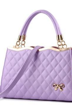 Quilted Lining Design Zipper PU Satchel