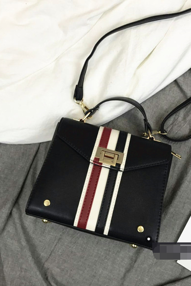 Stylish Color Block Stripe Lock Crossbody Bag