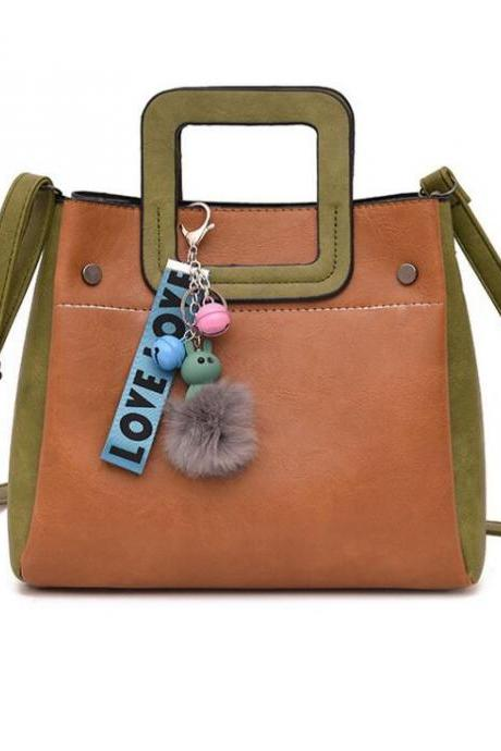 Color Block Ball Decoration Zipper Women Satchel