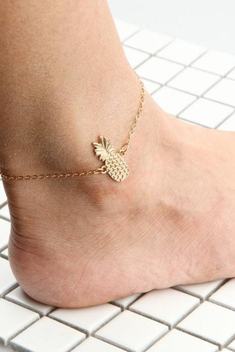 Hollow Out Three-Dimensional Pineapple Alloy Anklets