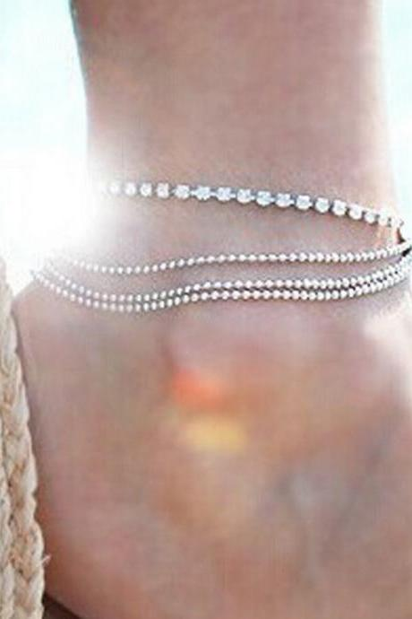 Multilayer Metal Chain Round Bead ShanZuan Anklets