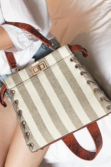 Concise Color Block Stripe Latch Design Satchel