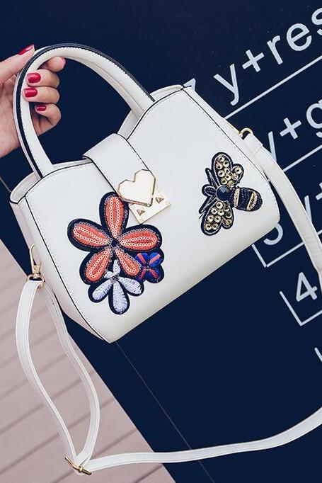 Korean Style Butterfly Embroidery Women Satchel