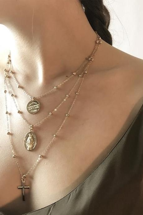 Geometric Metal Sequins Multilayer Necklaces