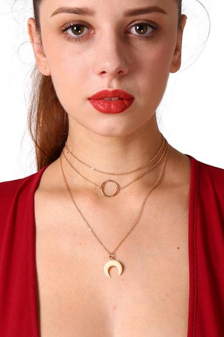 Trendy Metal Circle Moon Pendant Necklace