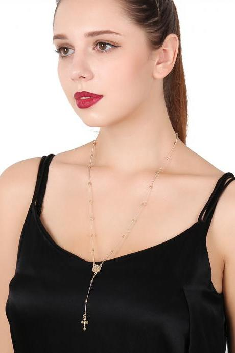 Sexy Exaggeration The Virgin Cross Pendant Long Clavicle Necklace