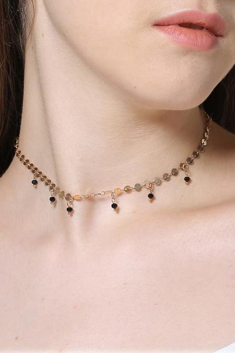 Handmade Sequins Multi-layer Crystal Exaggerated Long Necklace