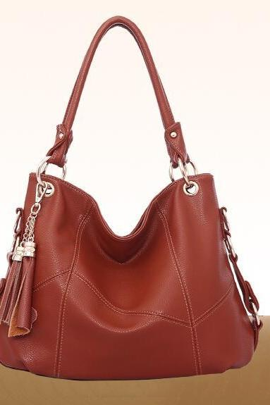 Occident Style Tassel Patchwork Zipper Handbag