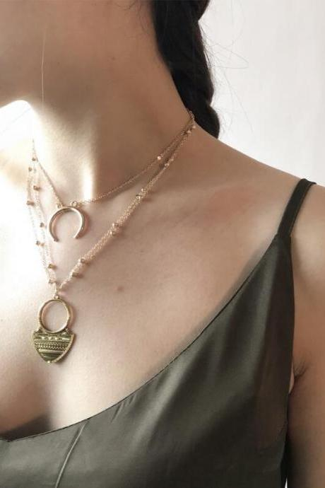 Alloy Carving Grain Moon Multilayer Long Necklace