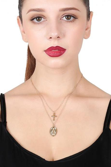Multi-layer Alloy Clavicle Cross Necklace