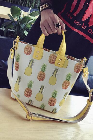 Causal Pineapple Printing Women Satchel