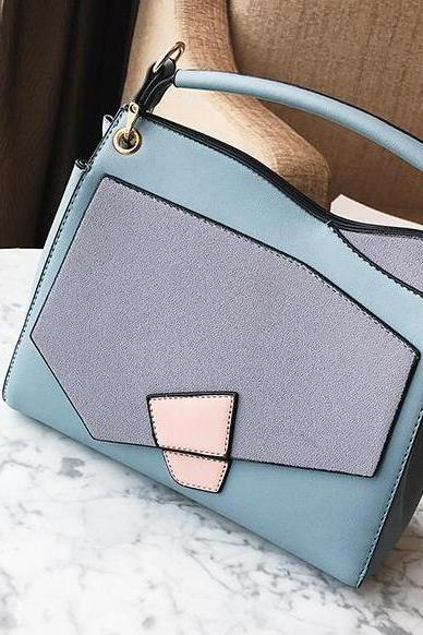 Casual Color Block Zipper Satchel