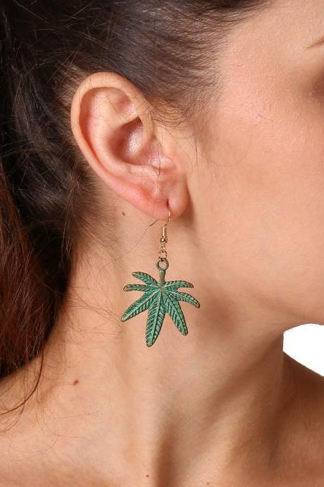 Wave Tropical Alloy Double Leaf Earrings