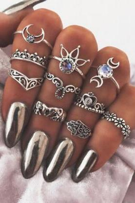 Hollow Out The Elephant Palm Moon Set Auger Lotus Flower 10 Pieces Of Each Ring Set