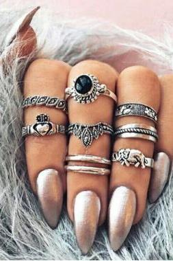 Restore Ancient Ways The Crown Set Auger Love Elephant 8 Pieces Of Each Ring Set