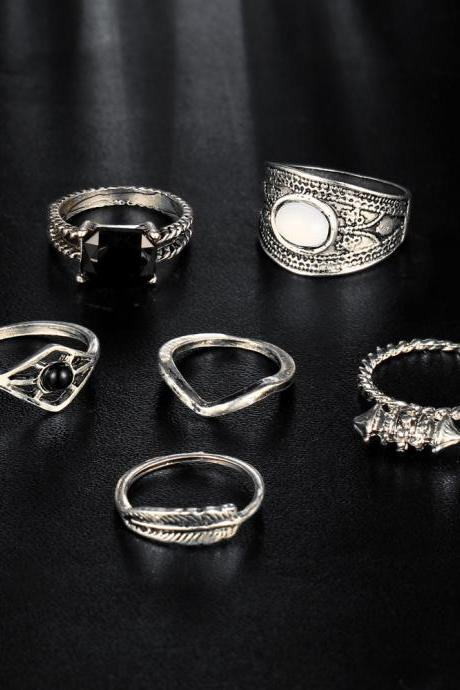 Hollow Out Restoring Ancient Ways Diamond-encrusted Jewels 6 Pieces Of Each Ring Set
