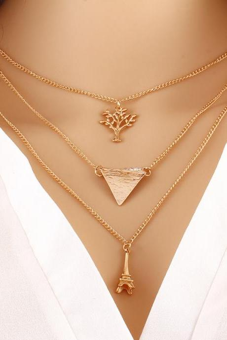 Contracted Multilayer Metal Necklace