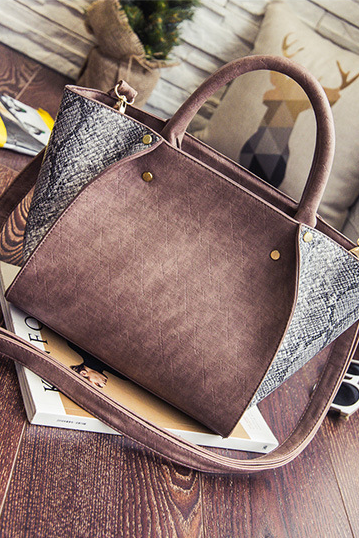 Color Block Snakeskin Pattern Handbag
