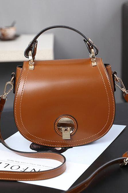 Modern Style Oval Shape Lock Crossbody Bag