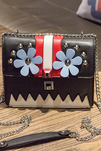 Flower Patchwork Pattern Chain Crossbody Bag