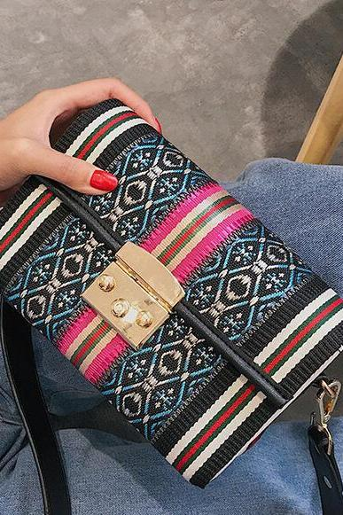 Ethnic Style Patchwork Lock Decoration Crossbody Bag