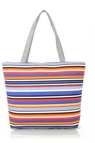 Rainbow Stripes Canvas Tote Bag