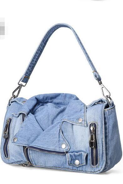 Chic Zip Denim Women Satchel