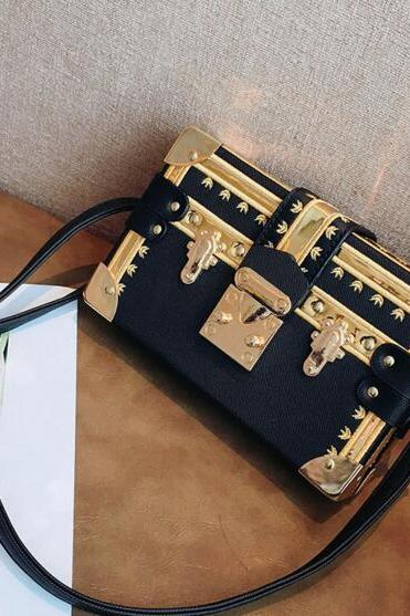 Korean Style Box Shape Lock Crossbody Bag