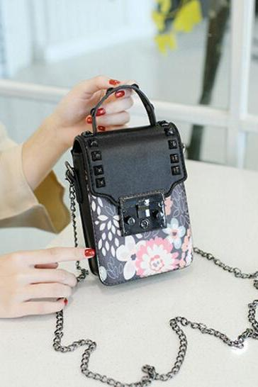 Rivet Latch Decorated Crossbody Bag