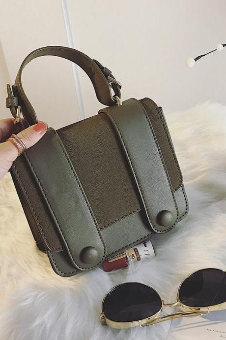 Casual Belt-Decorated Solid Color Cross Body Bag