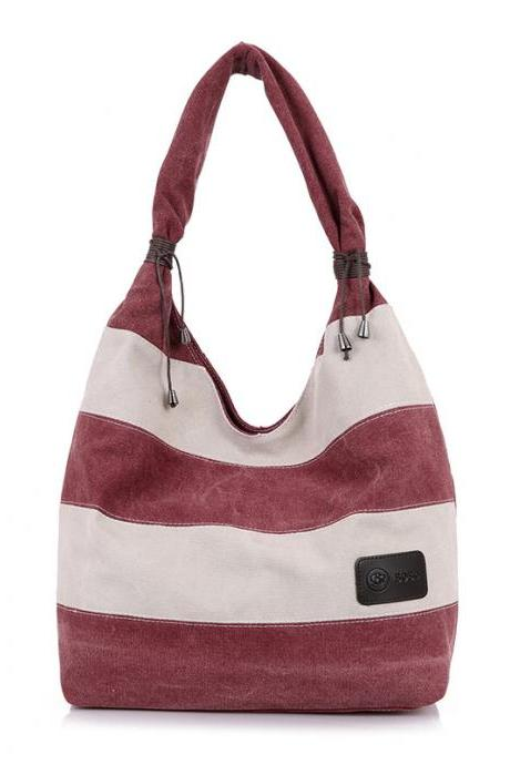Simple Color Block Canvas Tote Bag