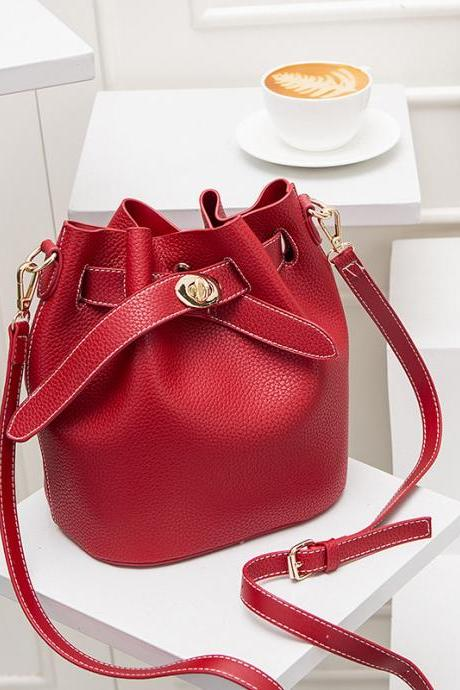 Red Bucket Shoulder Bag