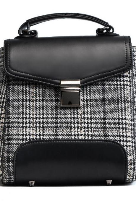 Classical Color Block Plaid Women Backpack