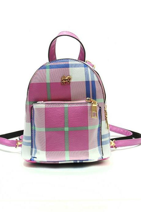 Color Block Mini PU Backpack