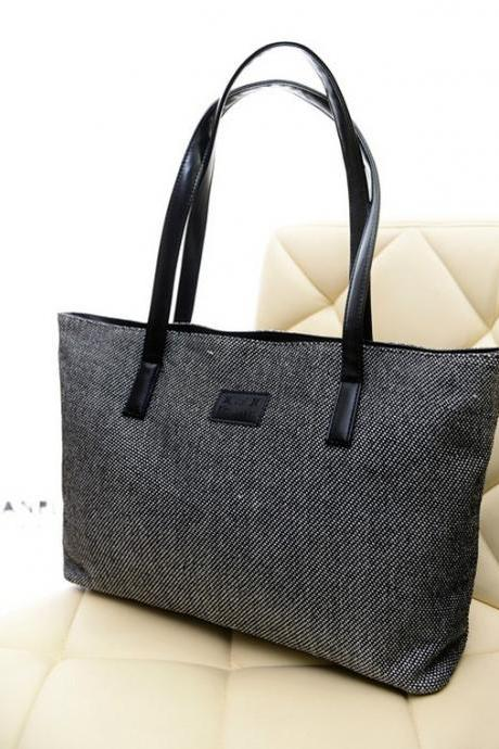 Simple Solid Color Linen Shoulder Bag