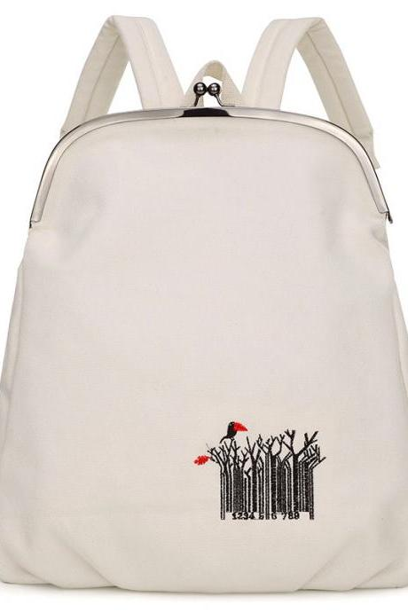 Concise Embroidery Women Backpack