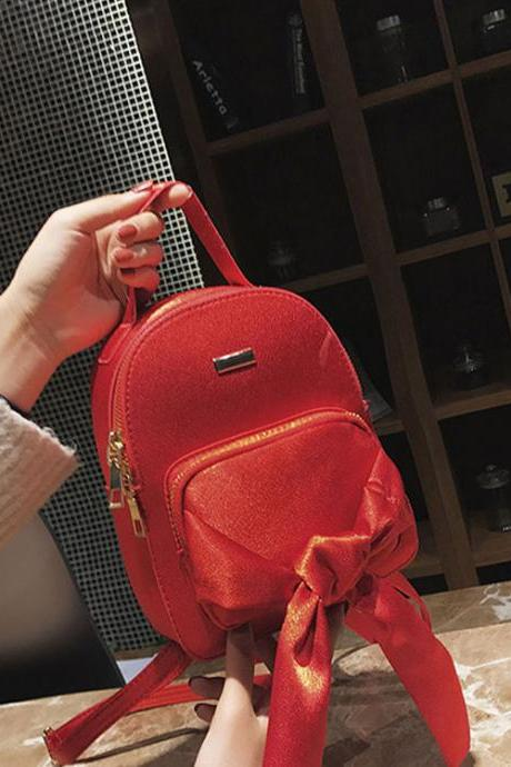 Fashion Silk Scarf Bowknot Mini Women Backpack