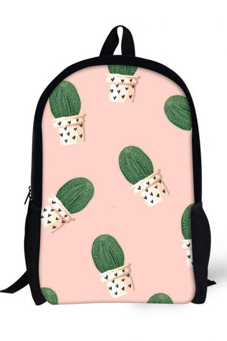 Three-dimensional Cactus Printing Pattern Backpack