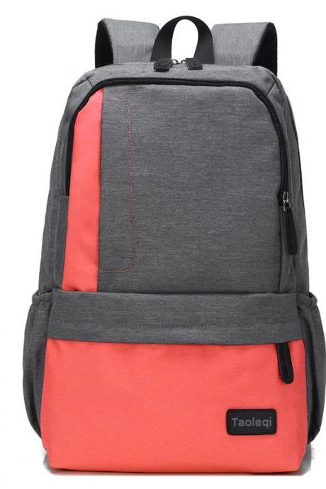Korean Style Color Block Canvas Backpack
