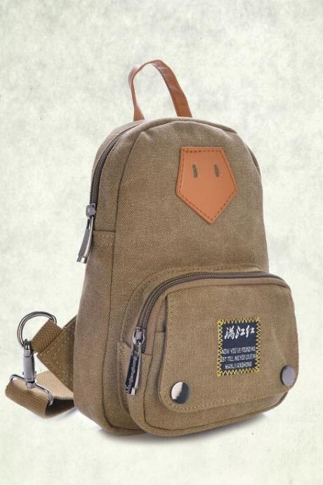 Small Size Canvas Chest Pack Shoulder Bag